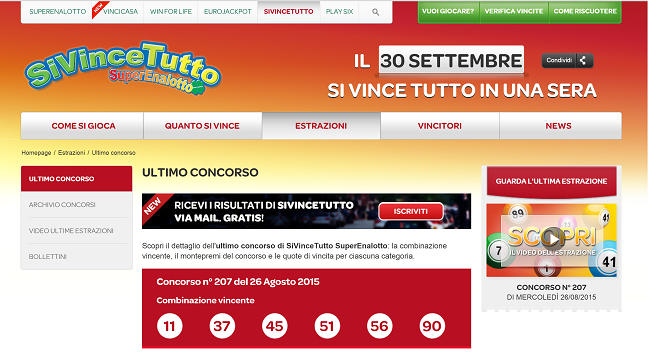 sivinetutto lotto Italie